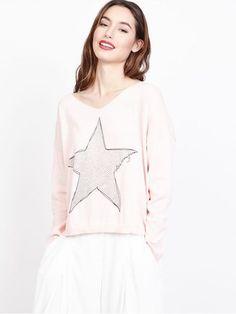 369fca83aad15 Joli pull en coton pour femme rose pale poudré. Pull fin avec motif grosse  étoile