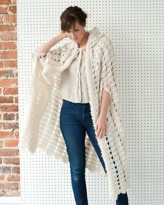 Crochet Hooded Cape is intermediate skill pattern for women in 3 lengths - stitches used - double, single, loop stitch, shell stitch, hook I & K, worsted yarn.