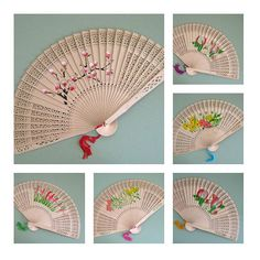 Wood Fans Flower Fan Favor Hand Fan Decor Floral Fan Decoration... ($15) ❤ liked on Polyvore featuring home and home decor