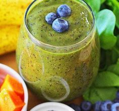 A full serving of this banana, papaya, and blueberry smoothie will replace a meal.