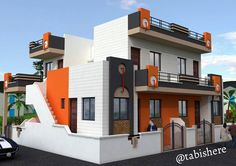 of 5 . House Front Wall Design, Single Floor House Design, Front Gate Design, Front Elevation Designs, House Elevation, Balcony Grill Design, Independent House, Render Art, Plan Design