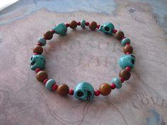 Turquoise skull & jasper bracelet by Shynnasplace on Etsy, $15.99