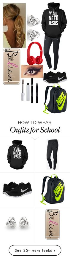 """School"" by magcon1d on Polyvore featuring NIKE, Casetify, Beats by Dr. Dre, Georgini, Sisley and T. LeClerc"