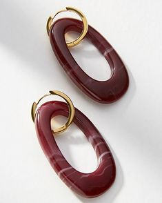 The perfect shade for winter red wine coloured handmade resin earrings with 24K gold hoops ~ The Amazon Earrings ~ available online and…