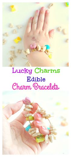 Lucky charms edible charm bracelets are a fun craft for kids to make and a snack all in one! These are fun to make for St. Patricks Day and just for fun!