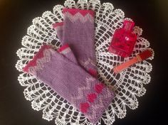 Knitted Fingerless Mittens Arm Warmers  Wrist Pink Purple Gloves Winter Accessory Hand Knitted Christmas Valentine gift ideas for her