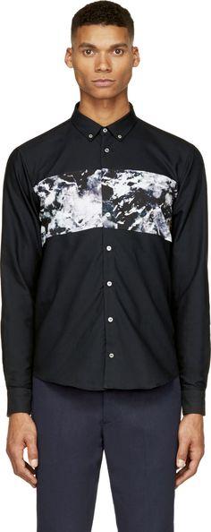 MSGM: Black Marbled Colorblock Print Oxford Shirt | SSENSE