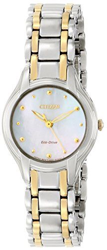 Citizen EcoDrive Womens EM028451N Silhouette Analog Display Two Tone Watch -- Click image for more details.