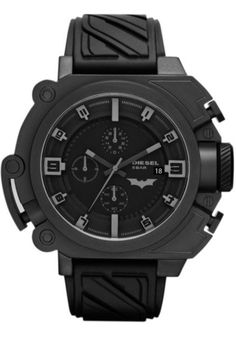 DIESEL BATMAN THE DARK KNIGHT RISES LIMITED EDITION CHRONOGRAPH This SBA (Super Bad Ass) style features a blackened stainless steel case with hidden under-bezel LED lamps that light the dial in a powerful glow. Industrial designed rubber strap emulates the Batsuit.