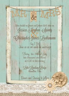 Rustic Wedding Invitation burlap and lace by MissBlissInvitations