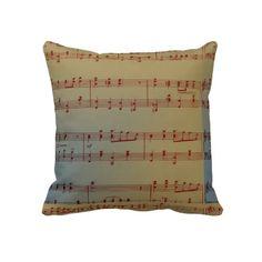 Vintage Music Notes Throw Pillows