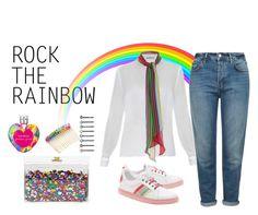 """Somewhere Over The Rainbow"" by polychampion-805 ❤ liked on Polyvore featuring Ashlyn'd, RED Valentino, Mary Katrantzou, Topshop, Vera Wang, Cara, Venessa Arizaga, women's clothing, women's fashion and women"