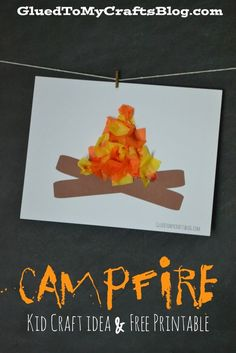 Campfire craft for kids. This is adorable for a cute summer craft. Make before going on a camping trip with kids this summer!