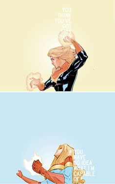 """Captain Marvel: """"He's wearing me down. Upping his attack as I grow weaker. You think you've got this, pal? You think you know me? You have no idea what I'm capable of."""""""