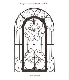 "Bergamo Iron Gate Wall Decor 51"" arch top Tuscan style affordable wrought iron."