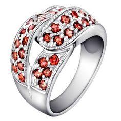 Natural Garnet Inlaid 925 Sterling Silver Ring - USD $156.95