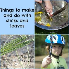 Lots of fun ideas and activities to do with sticks and leaves #weaving #magicwands #dens #potions #sticksorting #stickmen