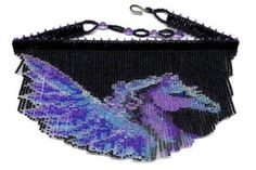 Pegasus Fringe Necklace : Beading Patterns and kits by Dragon!, The art of beading. Seed Bead Jewelry, Seed Bead Earrings, Beaded Earrings, Beaded Jewelry, Beaded Necklaces, Seed Beads, Seed Bead Patterns, Beading Patterns, Fringe Necklace