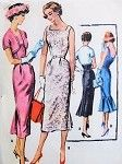 1950s Stunning Slim Dress and Bolero Pattern McCalls 3994 Flirty Cocktail Party Dress With Back Godet or Flounce Square Neckline Low U Back  Bust 38  Vintage Sewing Pattern