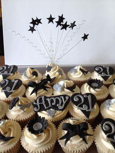Black & Silver themed 21st Birthday Cupcakes