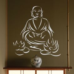 Zen Buddhism Wall Decal Deity Pattern Yoga Meditation Lotus Unman Wall Stickers Home Decor Windows Art Mural Buddha Decal Notebook Cover Design, Art Buddha, Buddha Drawing, Buddha Lotus, Auto Glass, Car Glass, Buddha Tattoo Design, Principles Of Art, Chinese Art