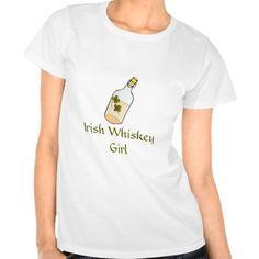 Irish Whiskey Girl St Patricks Day Tee | Whiskey bottle with shamrocks graphic