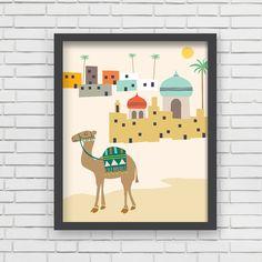 Middle East Home Decor Camel Nursery Wall Art - Camel Art Print - 8x10