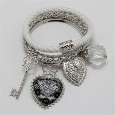 5 piece silver charm arm candy stack bracelet bangle cuff