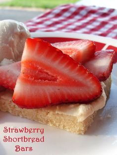 Amazing Frosted Strawberry Shortbread Bars - A delicious dairy-free recipe for barbecues, potlucks and more (vegan, too!)