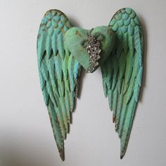 Metal angel wings wall hanging shabby cottage by AnitaSperoDesign