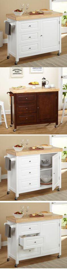 Kitchen Islands Kitchen Carts 115753: Home Kitchen Storage Organizer Mobile Cabinet Sturdy Cart Solid Wood Top Handles -> BUY IT NOW ONLY: $320.97 on eBay!