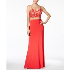 Adrianna Papell 2-Pc. Sequined A-Line Gown ($210) ❤ liked on Polyvore featuring dresses, gowns, red, white dress, red sequin gown, adrianna papell gowns, red ball gown and white sequin gown