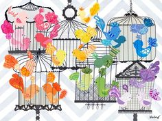 """Rainbow Birdies"" artwork for kids rooms by Winborg Sisters for Oopsy daisy, Fine Art for Kids $119"