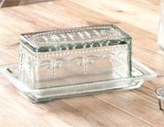 Vintage Style Glass Butter Dish