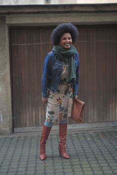 Hindi got her dress and boots from Oxfam. We think she looks great!
