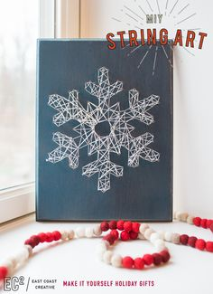 Try DIY string art for a fun family project. This snowflake design makes great seasonal decor and a festive, personal gift!