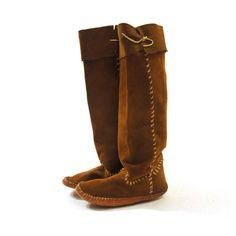 60s Moccasin Boots / Handmade / Women's sz 7 by SpunkVintage, $86.00