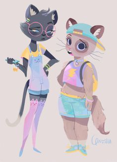 Human-like cats. Such cute art!!