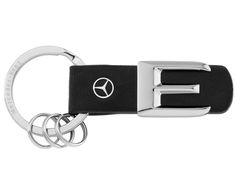 Scale replica of lettering on rear of vehicle. 3 mini split rings for quick replacement of keys. Star logo stud in leather. Benz Amg, Star Logo, Split Ring, Key Rings, Laser Engraving, Black Silver, Mercedes Benz, Keys, Vehicle