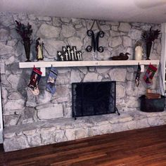 whitewashed stone fireplace - Google Search | rustic decor ...
