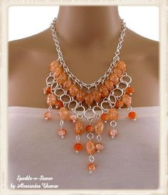 Orange Acrylic Bib Statement Necklace The Alani por SparklenStones, $100.00