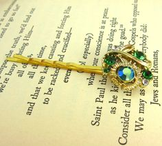 Aurora Borealis Flower Rhinestone Hair Pins, Unique Hair Accessories, Green and Gold Hair Pins, Green Rhinestone Recycled Vintage Jewelry by FemByDesign on Etsy