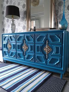 Re-tiqued by Rae Bond: Turquoise Distressed Dresser Re-tiqued by Rae Bond: Turquoise Distressed Dresser Funky Furniture, Refurbished Furniture, Paint Furniture, Repurposed Furniture, Furniture Projects, Furniture Makeover, Home Furniture, Furniture Design, Moroccan Furniture