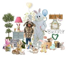 """""""BUNNY LOVE"""" by donna-france-davis ❤ liked on Polyvore featuring interior, interiors, interior design, home, home decor, interior decorating, Brewster Home Fashions, NDI, Safavieh and Buy Seasons"""