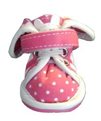 $32.99 Polka Dots & Flowers Doggie Sneakers - Pink - front view with fixed laces and velcro strap