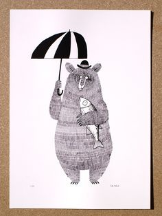 Bear, Brolly and Salmon : Jim Field Shop – A Bear, Brolly and Salmon. Drawn in dip pen, this is a scanned version of the original artwork. Illustration Mignonne, Children's Book Illustration, Art D'ours, Posca Art, Inspiration Art, Bear Art, Art Design, Oeuvre D'art, Illustrators
