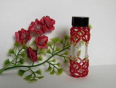 Cathedral Style Beaded Glass Bottle in Cherry by BlackstreaksBeads