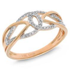 Fancy - Twisted Diamond Ring in 14k Gold by Bijouxx