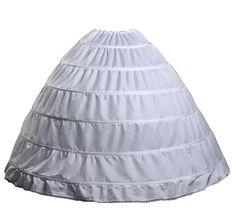 Wantdo Drawstring Wedding Bridal Petticoat Six Hoops Larges Full White QC002