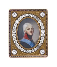 Russian imperial snuffbox in gold, enamel and diamonds  by Keibel, with a miniature portrait of Tsar Alexander I